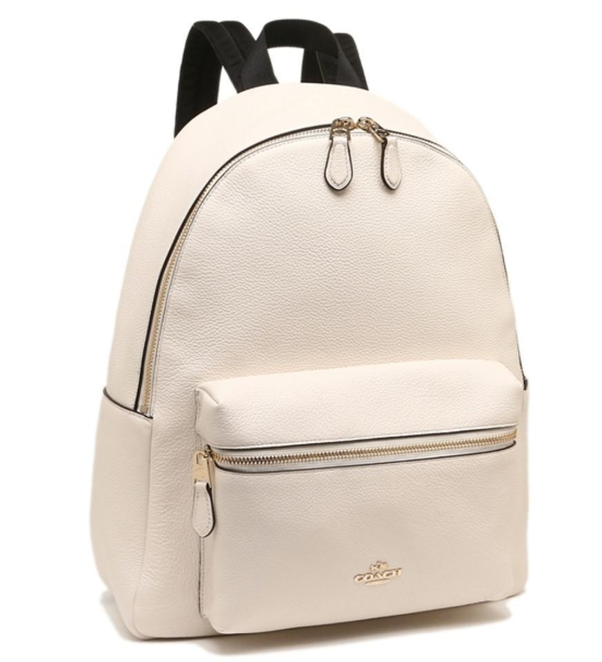 1d85280c79 Coach New Womens (F38288 F29004) Chalk Charlie Pebble White Leather Backpack  - Tradesy