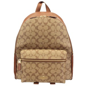 Coach Backpack. Coach Saddle New Women s (F58314) Signature Khaki Charlie  Brown Leather Backpack 077181c2a4072