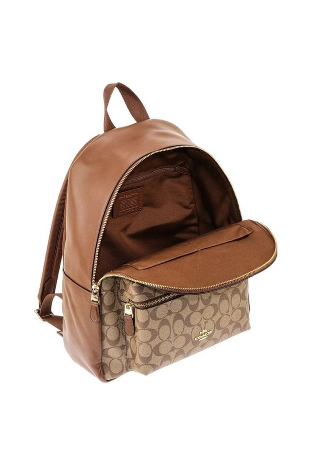 Coach Saddle New Women s (F58314) Signature Khaki Charlie Brown Leather  Backpack - Tradesy 6035b474baddd