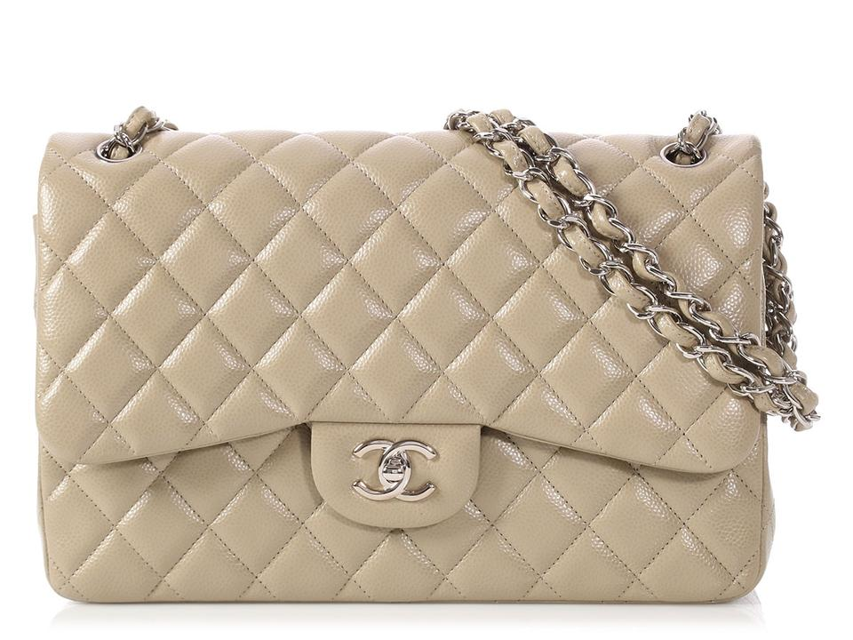 49a0def4d4b8 Chanel Double Flap Classic Jumbo Quilted Caviar Taupe Beige Leather  Shoulder Bag