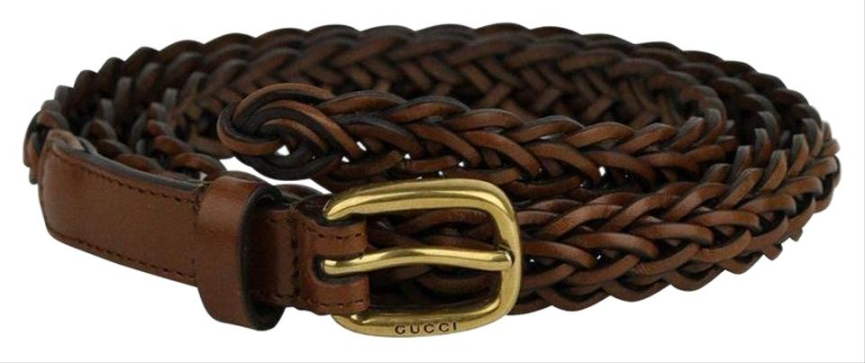 f345361f0ac Gucci Women s Brown Braided Leather With Gold Buckle Belt 380607 Image 0 ...