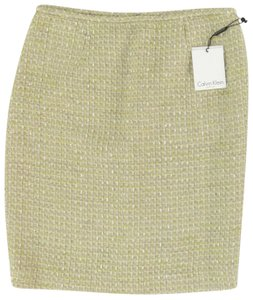 Calvin Klein Classic Pencil Rocker Textured Metallic Skirt Gold