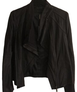 Elie Tahari Navy Blue Leather Jacket