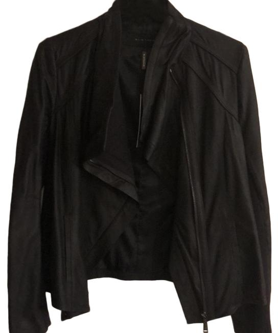 Elie Tahari Navy Blue Leather Jacket Image 0