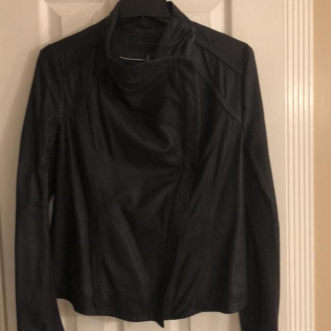 Elie Tahari Navy Blue Leather Jacket Image 3
