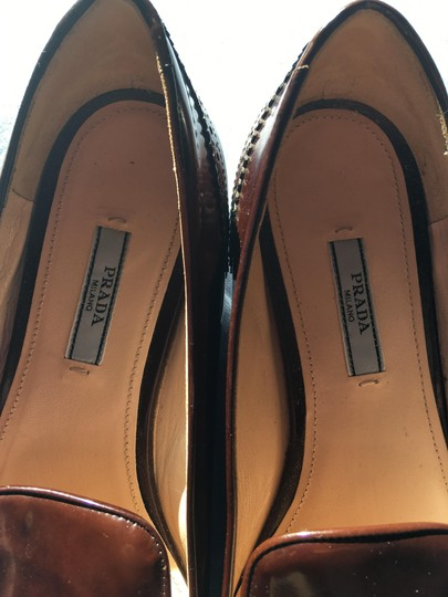 Prada Patent Leather Made In Italy Brown Flats Image 4