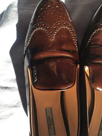 Prada Patent Leather Made In Italy Brown Flats Image 8