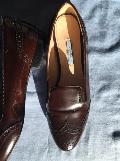 Prada Patent Leather Made In Italy Brown Flats Image 9