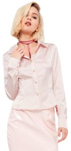 Missguided Satin Skinny Fit Button Down Shirt pink