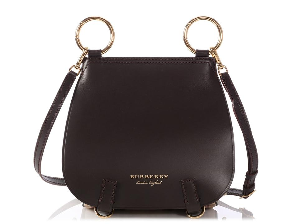 12619a17ab8a Burberry Large Haymarket Check Bridle Saddle Clove Brown Leather Shoulder  Bag