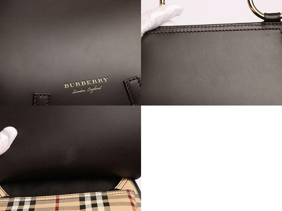 Burberry Large Haymarket Check Bridle Saddle Clove Brown Leather ... 9b847a3baa1eb