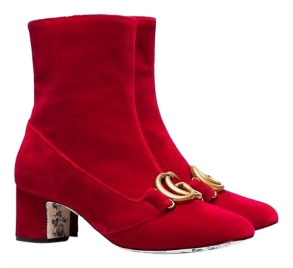 02842191183 Gucci Victoire Velvet Ankle Boots Booties Size EU 38 (Approx. US 8 ...