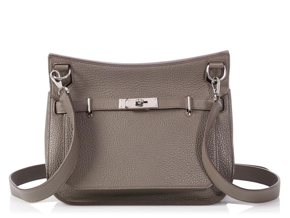c16edeeff891 Hermès Jypsiere 28 Clemence Etain Gray Leather Cross Body Bag - Tradesy