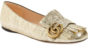 Gucci Mule Holiday Logo Cocktail Gold Flats