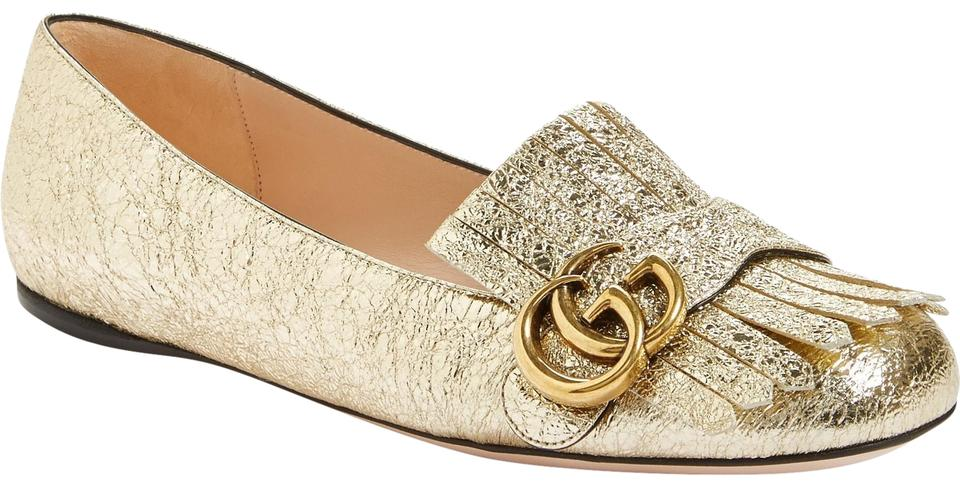 20380c59cd0 Gucci Gold Marmont New Metallic Fringe Gg Leather Loafer Flats Size ...
