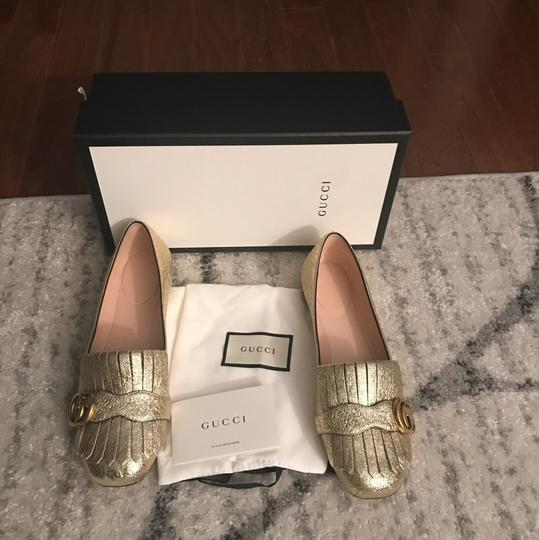 Gucci Mule Holiday Logo Cocktail Gold Flats Image 1