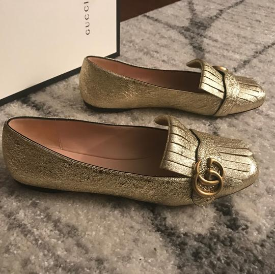 Gucci Mule Holiday Logo Cocktail Gold Flats Image 3
