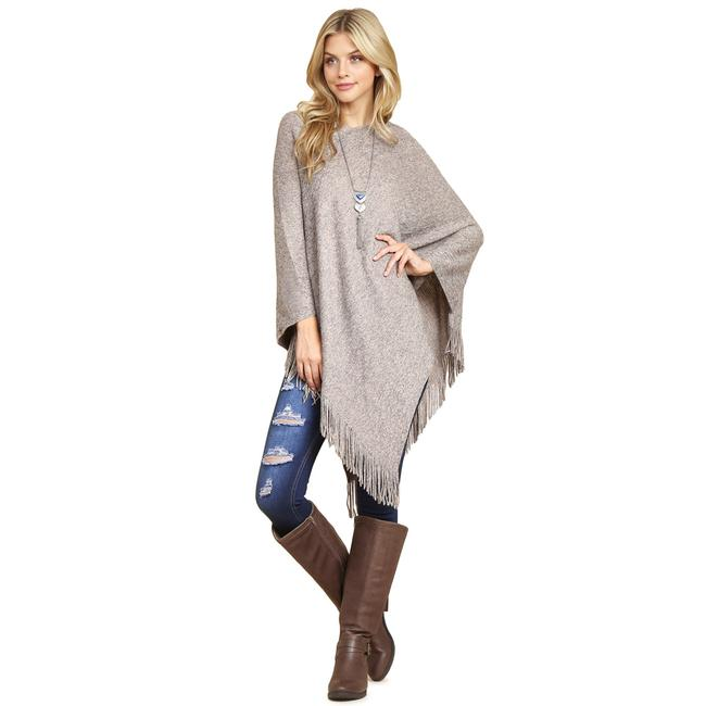 Item - Light Brown Two Fringe Poncho/Cape Size OS (one size)