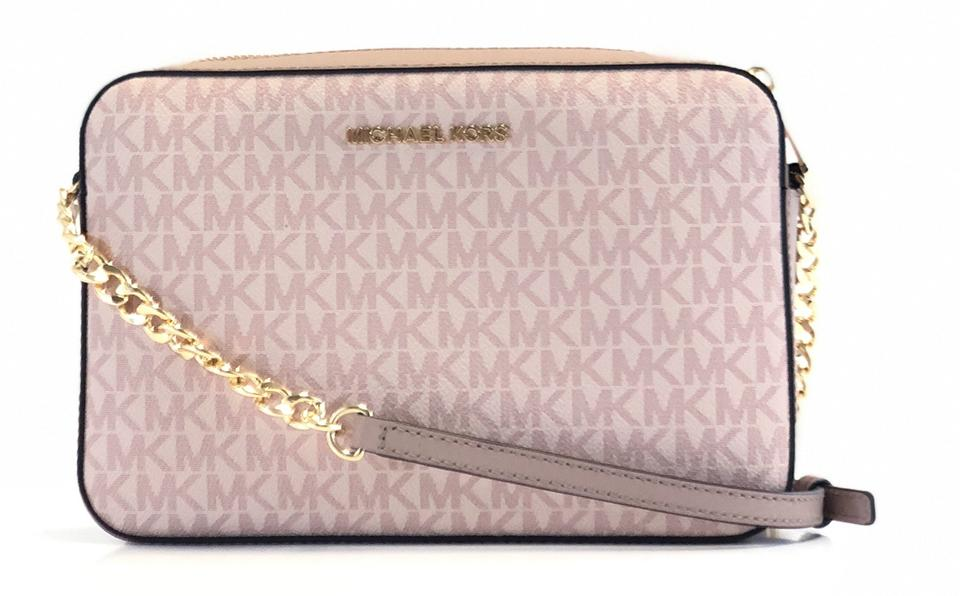 Michael Kors East West New Womens Jet Set Large Signature Crossbo Pink Leather Pvc Cross Body Bag 53% off retail