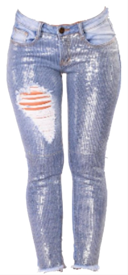 905d90ced18 Blue - Medium Wash Distressed Silver Sequin Skinny Jeans. Size: 32 (8 ...
