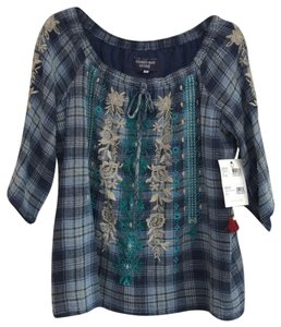Johnny Was Off The Shoulder Embroidered Plaid Cotton Tie Top blue multi