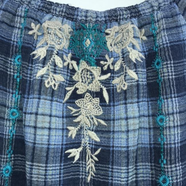 Johnny Was Off The Shoulder Embroidered Plaid Cotton Tie Top blue multi Image 5