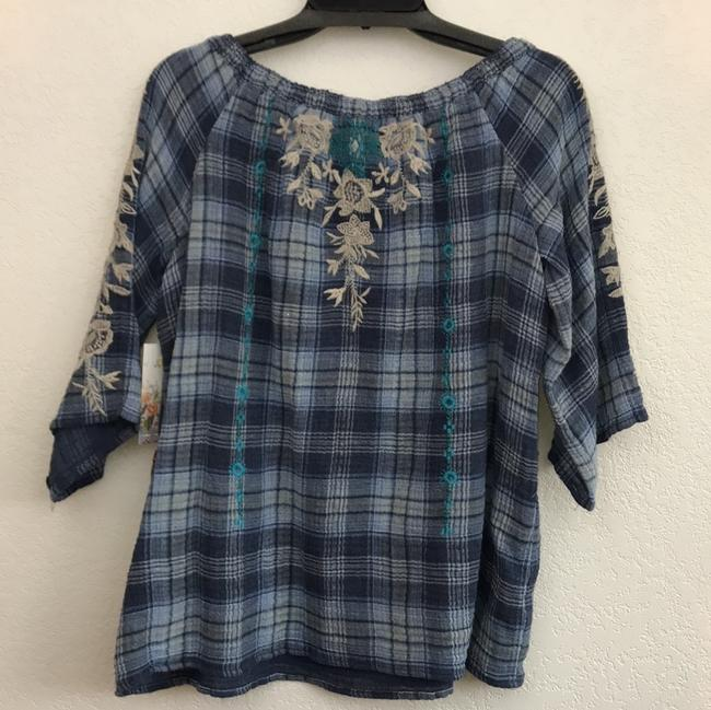 Johnny Was Off The Shoulder Embroidered Plaid Cotton Tie Top blue multi Image 6