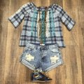 Johnny Was Off The Shoulder Embroidered Plaid Cotton Tie Top blue multi Image 7