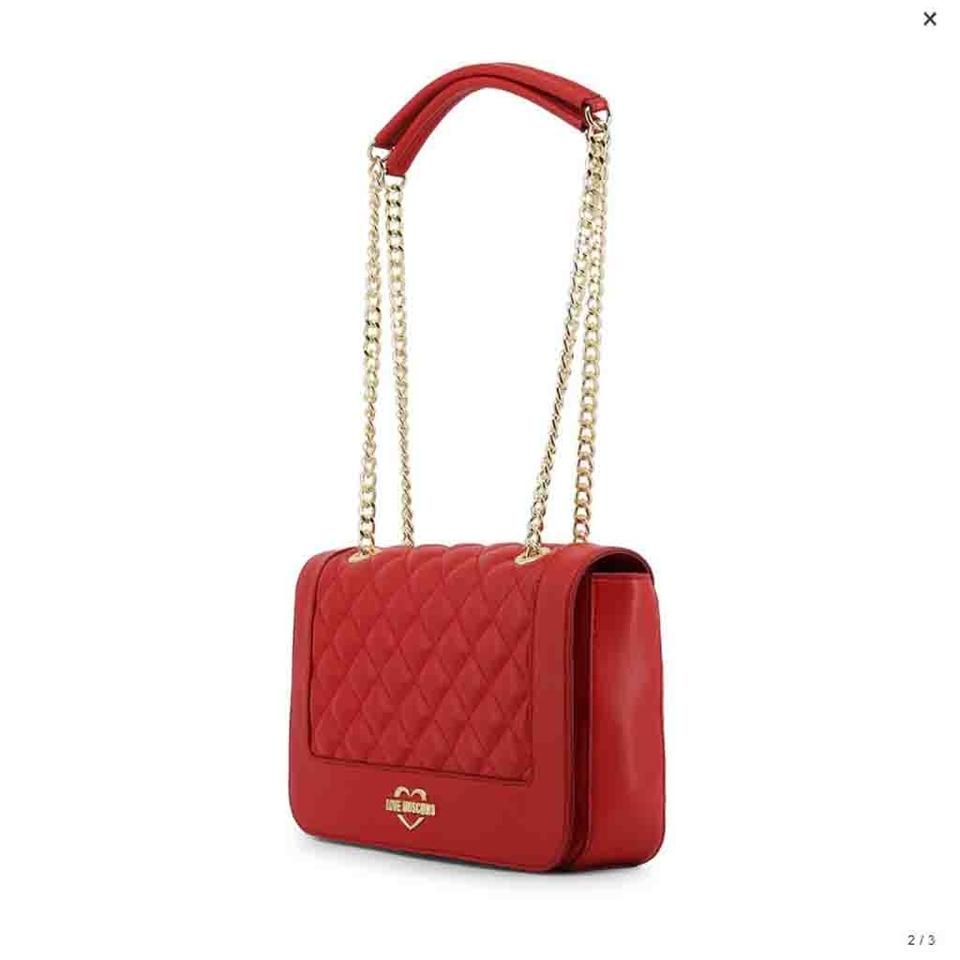 6718d35e180 Love Moschino Red Faux Leather Shoulder Bag - Tradesy