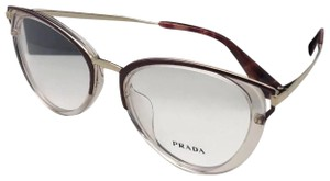 Prada New PRADA Eyeglasses VPR 53U-F VYT-1O1 52-19 145 Burgundy Clear & Gold