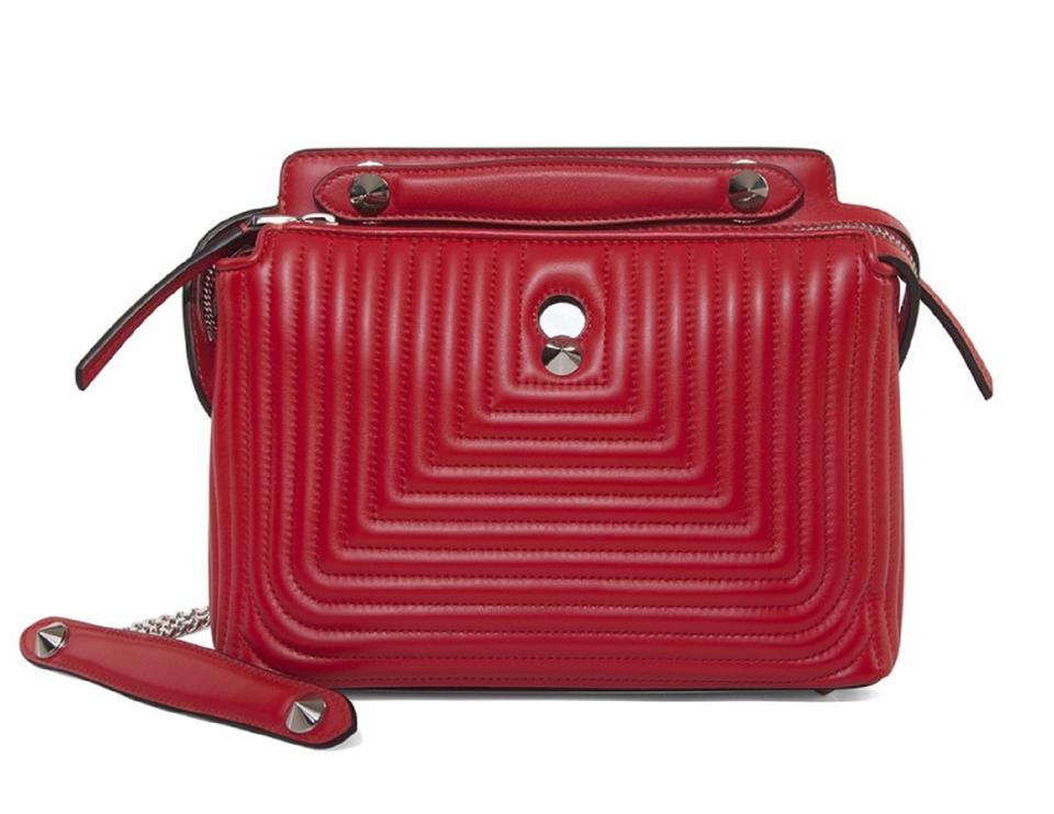 baf5e3d5d941 Fendi Small Quilted Chain Handbag Red Lambskin Leather Satchel 40% off  retail