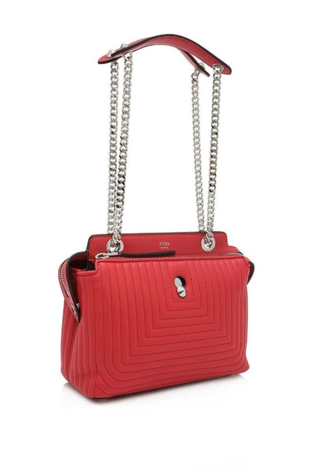 Fendi Small Quilted Chain Handbag Red Lambskin Leather Satchel - Tradesy 24f56d4a9abcd