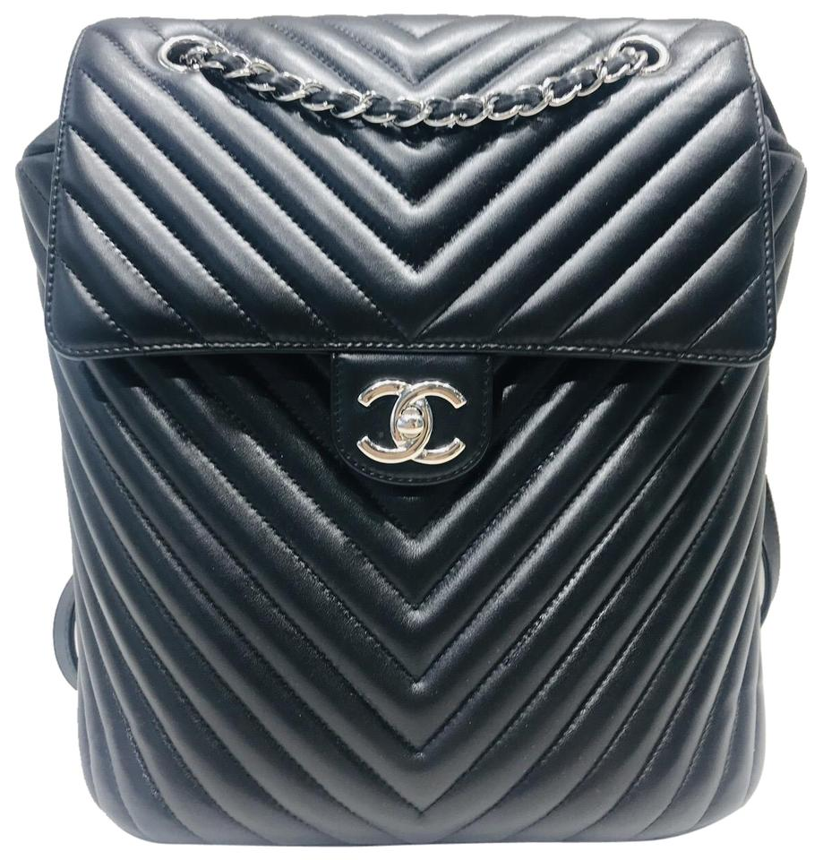Chanel Backpack Urban Spirit Chevron Large Black Leather Backpack ... b1f3ab6ef37c9