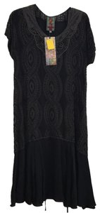 Johnny Was Embroidered Short Sleeve Eyelet Tie Dress