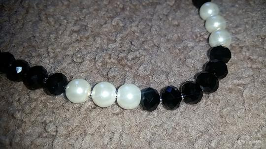 Fashion Jewelry For Everyone Black White 8mm Onyx Pearl Necklace Earrings Jewelry Set Image 4