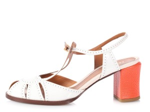 Fendi Fi.p1025.19 Orange Chunky Patent White multicolor Sandals