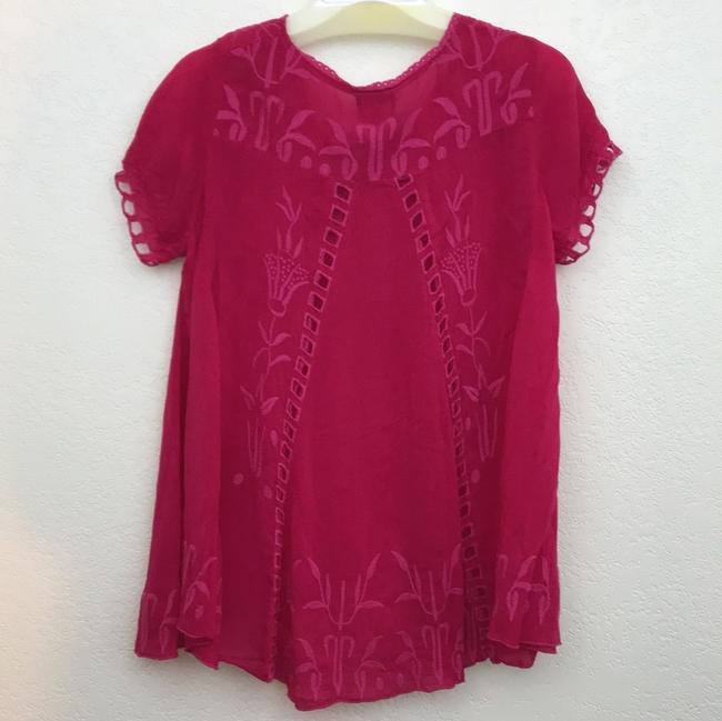Johnny Was Short Sleeve Embroidered Swing Floral Cut-out Top pomegranate Image 5