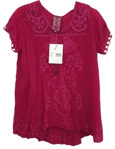Johnny Was Short Sleeve Embroidered Swing Floral Cut-out Top pomegranate