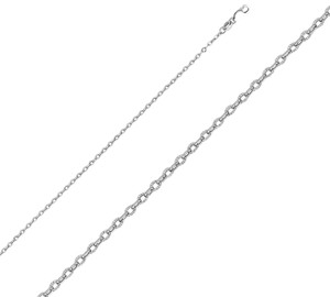 Top Gold & Diamond Jewelry 14k white Gold 2.3mm Hollow Sunny Cable Diamond Cut Chain - 22