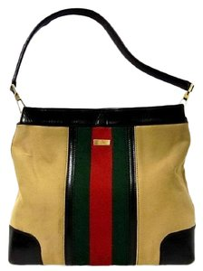 Gucci Red/Green Camel Canvas/Gold Hw Medium Satchel/Tote Excellent Condition Detachable Strap Satchel in tan canvas with red/green Shelly stripe & brown leather