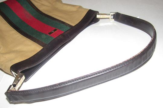 Gucci Red/Green Camel Canvas/Gold Hw Medium Satchel/Tote Excellent Condition Detachable Strap Satchel in tan canvas with red/green Shelly stripe & brown leather Image 1