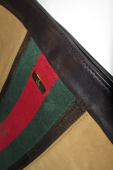 Gucci Red/Green Camel Canvas/Gold Hw Medium Satchel/Tote Excellent Condition Detachable Strap Satchel in tan canvas with red/green Shelly stripe & brown leather Image 11
