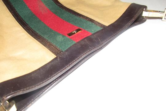 Gucci Red/Green Camel Canvas/Gold Hw Medium Satchel/Tote Excellent Condition Detachable Strap Satchel in tan canvas with red/green Shelly stripe & brown leather Image 4