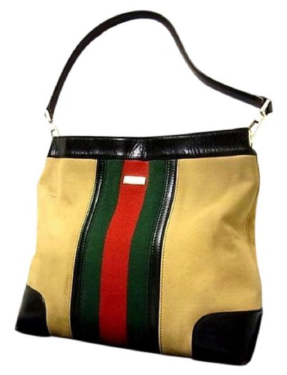 Gucci Red/Green Camel Canvas/Gold Hw Medium Satchel/Tote Excellent Condition Detachable Strap Satchel in tan canvas with red/green Shelly stripe & brown leather Image 6
