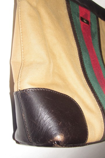 Gucci Red/Green Camel Canvas/Gold Hw Medium Satchel/Tote Excellent Condition Detachable Strap Satchel in tan canvas with red/green Shelly stripe & brown leather Image 9