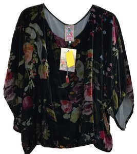 Johnny Was Floral Crop Flowy Print Silk Top black combo