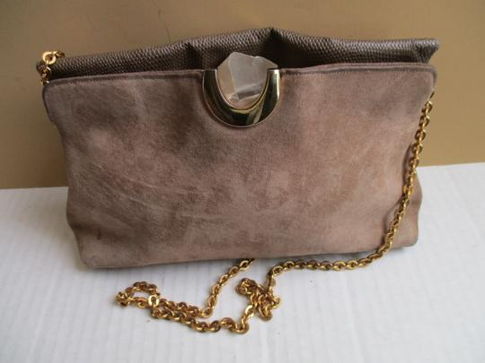 Other Suede Lizard Gold Tone Cross Body Tan Shoulder Bag Image 1
