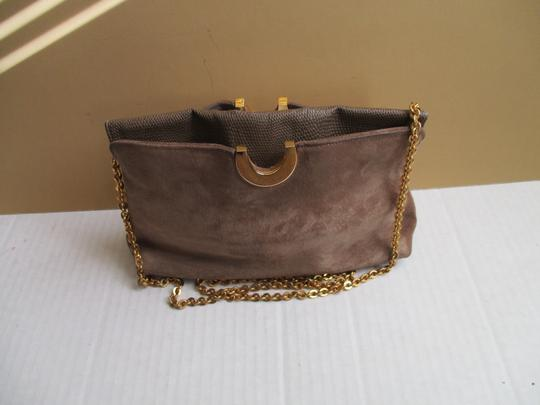 Other Suede Lizard Gold Tone Cross Body Tan Shoulder Bag Image 3