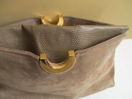 Other Suede Lizard Gold Tone Cross Body Tan Shoulder Bag Image 6