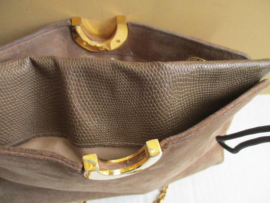 Other Suede Lizard Gold Tone Cross Body Tan Shoulder Bag Image 7